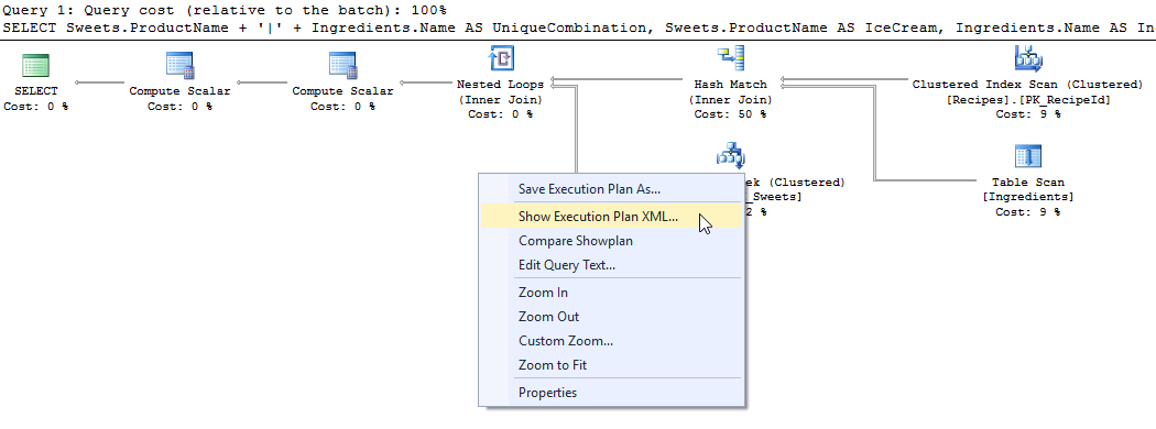 showplan options - set statistics xml - right click